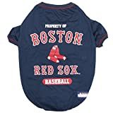 Pets First MLB T-Shirt - Dog tee Shirt - Baseball Dogs & Cats Shirt - Durable Sports Pet tee for Dogs & Cats - 5 Sizes Available in 29 MLB Teams - MLB Pet Outfit, Boston Red Sox