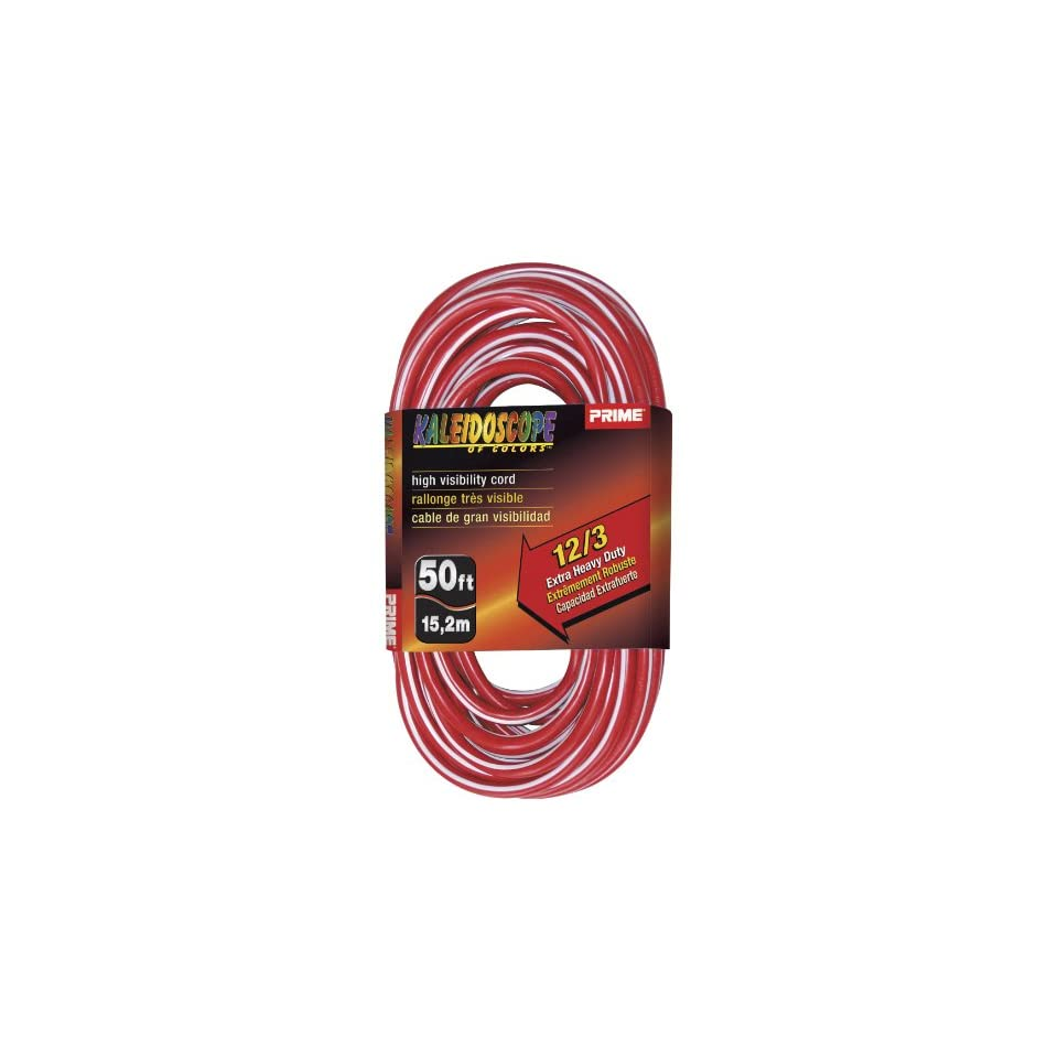Prime Wire & Cable KC500328 50 Foot 12/3 SJTW Kaleidoscope Extra Heavy Duty Outdoor Extension Cord with Prime light Indicator Light, Red and White