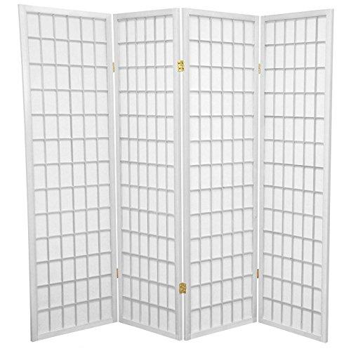 Oriental Furniture 5 ft. Tall Window Pane Shoji Screen - White - 4 Panels