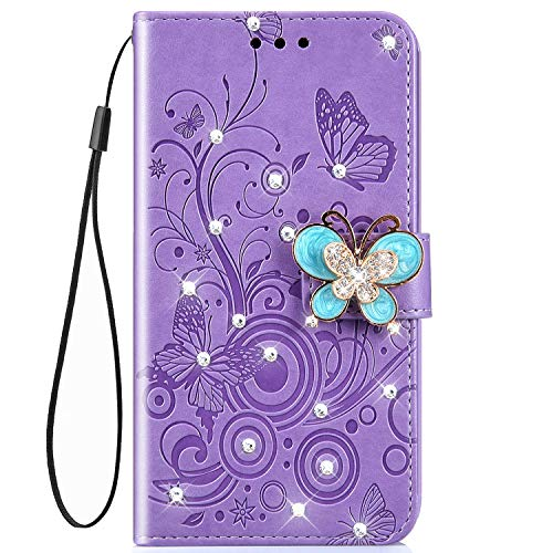 - IKASEFU Shiny butterfly Rhinestone Emboss Floral Pu Leather Diamond Bling Wallet Strap Case with Card Holder Magnetic Flip Cover Case Compatible with Samsung Galaxy J3 2018,Purple