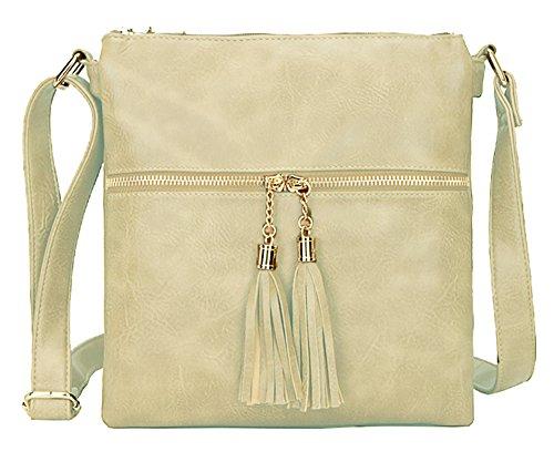 Beige Pour Shop Femme Big À Pompon Handbag Double Bandoulière Sac Avec BWZ1qF