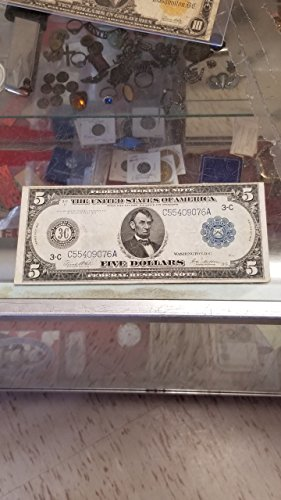 1914 5 FEDERAL RESERVE BLUE SEAL NOTE-VERY NICE FRN-GREAT WWI LARGE CURRENCY-VERN'S CARD & COIN 5 (Frn Note)