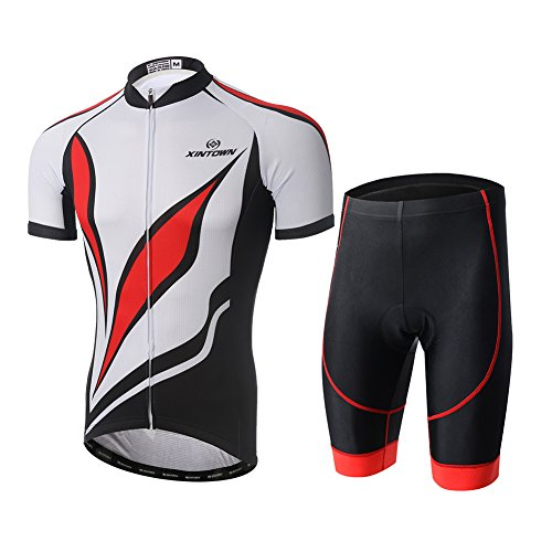 FREE FISHER Mens Cycling Jerseys with Padded Shorts Set Red Leaves L=US -