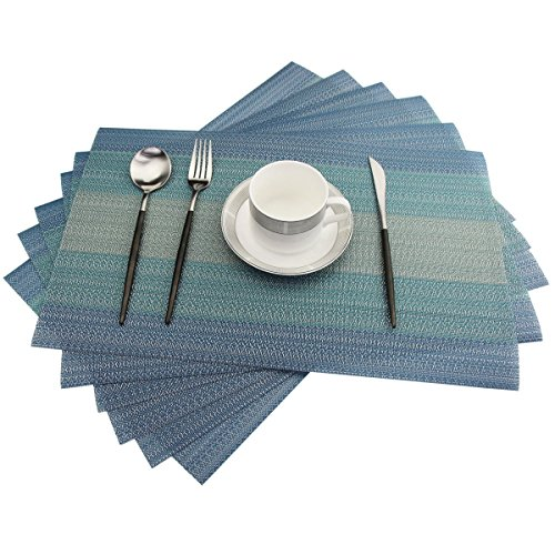 Placemats Washable Easy to Clean Pvc Placemat for Kitchen Table Heat-resistand Woven Vinyl Hard Table Mats 12x18 inches Set of 6 (Blue) by Bright Dream (Image #1)