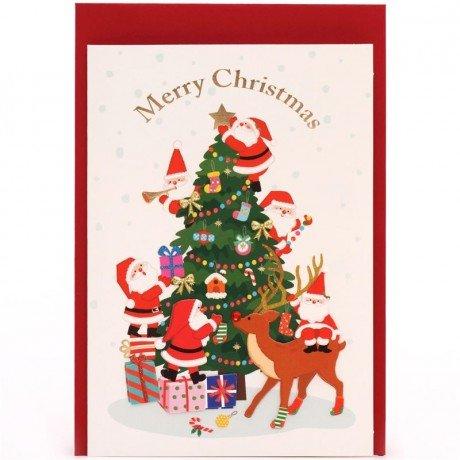 Postal felicitación carta Navidad brillante Santa Claus ...