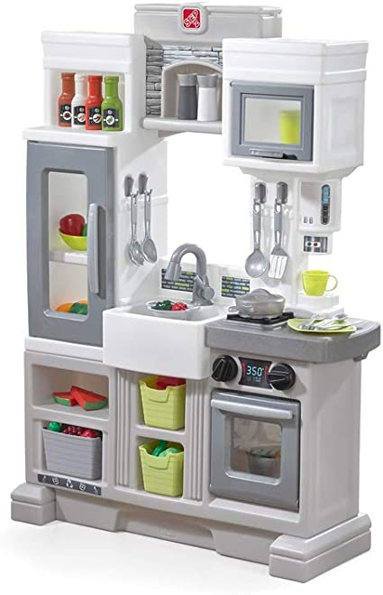 Step2 Downtown Delights Play Kitchen | Kids Kitchen Playset | Kitchen Toy  with Realistic Lights & Sounds