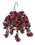 House of Silk Flowers Artificial Violet/Fuchsia Azalea Hanging Basket