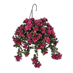 House of Silk Flowers Artificial Azalea Hanging Basket 13