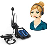 Corded Telephone with Headset,Valoin Hands-free Corded Phone Dialpad with Noise Cancellation Headphone for House Call Center and Office Business