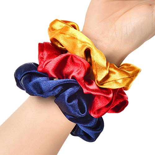 Bersiler Satin Hair Scrunchies, Hair Ties for Women Teenage Girls, Regular Elastic Ropes Hair Bands, Satin Hair Ties - 3 Pack
