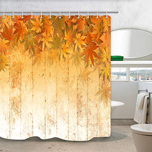 - NYMB Fall Leaf Wooden Shower Curtain for Bathroom, Yellow Orange Colors Fall Autumn Maple Leaves at Rustic Farmhouse Wooden Plank Shower Curtain, Fabric Bathroom Curtain with Shower Curtain 12PCS Hook
