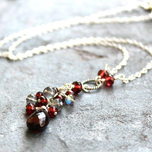 (Garnet Necklace Labradorite Sterling Silver Deep Red Gray Multi Stone Tassel)