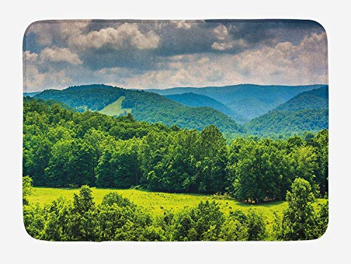 Bath Mat Front Doormat - Landscape View of Mountains in Potomac Highlands Bathroom Rug Kitchen Floor Carpet Home Decor with Non Slip Backing 16x24 Inch