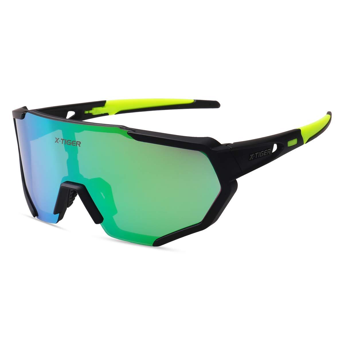 X-TIGER Gafas Ciclismo polarizadas con 3 Lentes Intercambiables UV 400 Gafas Deportivas, Corriendo,Moto MTB Bicicleta Montaña,Camping y Actividades al ...