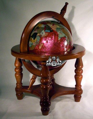 Unique Art 18-Inch by 9-Inch Pink Pearl Swirl Ocean Gemstone World Globe with 4-Leg Mahogany Finish Wood Frame