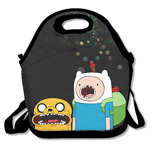 Bekey Adventure Time Jake & Finn Lunch Tote Bag Lunch Box For Women Adults Kids Girls For Travel School Picnic Grocery Bags