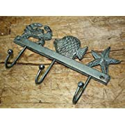 Cast Iron NAUTICAL Towel Coat Hooks Hat Hook Key STARFISH FISH CRAB Rack