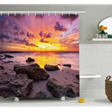 Tropical Shower Curtain by Ambesonne, Sunset at the Beach Horizon on Island Magical Idyllic Weather Landscape , Fabric Bathroom Decor Set with Hooks, 70 Inches, Mauve Salmon Lilac