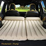 LUOOV Multifunctional Car SUV Air Mattress Camping Bed,Outdoor SUV Dedicated Mobile Cushion Extended Travel Mattress Air Bed Inflatable for SUV Back Seat,Fit 95% SUV with Pump (Beige+Pump)