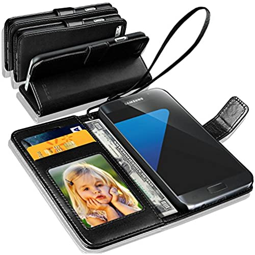 Samsung Galaxy S8 - GBOS Black Rich Leather Stand Wallet Flip Case Cover (Specially Manufactured - Premium Quality) Antique Leather Case Sales