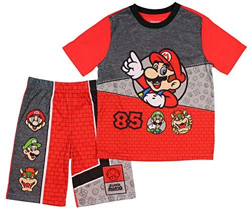AME Super Mario Boys Summer Pajamas with Luigi Bowser (Medium 8) Red - Mario Galaxy Bowser