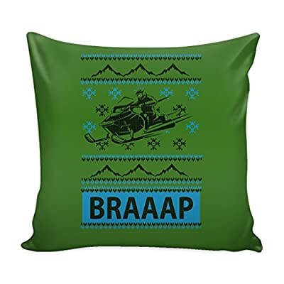 Snowmobile Braaap Festive Funny Ugly Christmas Holiday Sweater Decorative Throw Pillow Cases Cover(4 Colors)