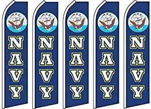 5 Swooper Flutter Flags NAVY Logo Blue White