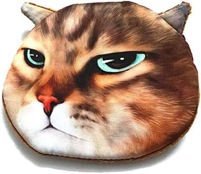 GTONEE Cute Lifelike Cat Coin Purse, Zipper Coin Handbag Purse Wallet Pouch, Mini Cosmetic Bag, Mini Storage bag, Cat Face Purse Pouch (Staring Cat)