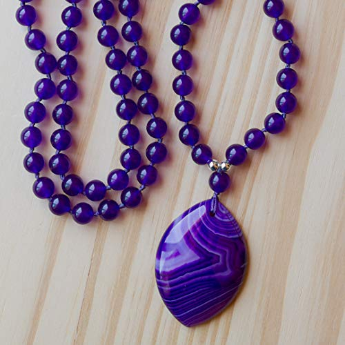28 Inch Long Purple Agate Pendant Necklace with Amethyst Colored Glass - Bead Glass Agate Necklace Long