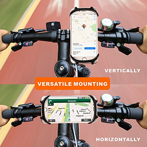 Bike Mount, Universal Bicycle Phone Holder, Adjustable Silicone Handlebar Crack for iPhone X/6/7/8 Plus, Samsung Galaxy S9/S8 Plus, 4.5''-6.0'' phones, Ideal for Road Mountain Bikes and Motorcycle by Jenleestar (Image #6)
