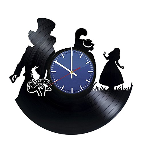 [Alice In Wonderland Fantasy Characters Silhouette Wall Clock – Vinyl Record Wall Clock - Adventure Cartoons Wall Art Design – Cool Gift Idea For Friends – Best Goods For Room Decoration] (Diy Cartoon Character Costume Ideas)