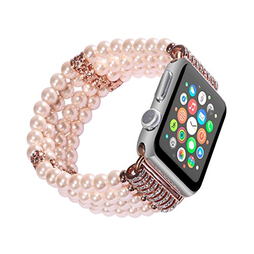 Band Pink Crystal (CHEEDAY Beaded Jewelry Stone iWatch Band Fashion Handmade Elastic Stretch Faux Bracelet Replacement for Apple Watch Series 1 Series 2 Series 3 (Crystal - Pink 42mm))