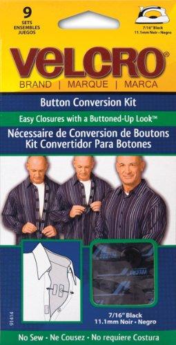No Sew Button Velcro Conversion Black