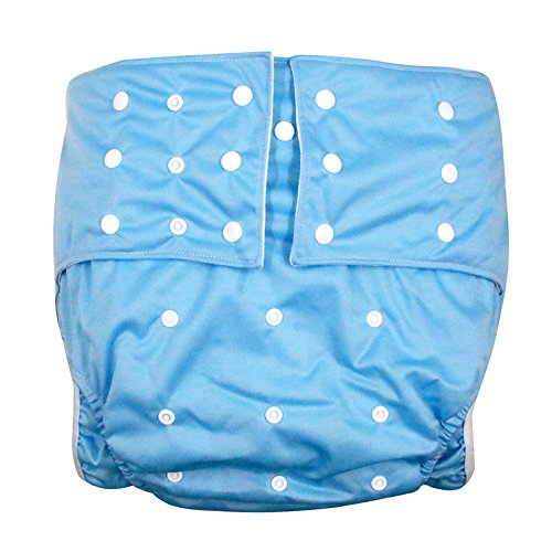 LukLoy Men's Adults Cloth Diapers for Incontinence Care Protective Underwear -Dual Opening Pocket Washable Adjustable Reusable Leakfree for Waist Large Size 65~135cm (Light Blue) Shenzhen M-Home Co. Ltd