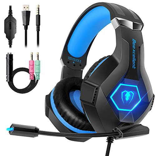 Gaming Headset for PS4, 2019 Latest Ultra Light Professional Gaming Headset, Stereo Surround with Noise Cancelling Soft Microphone 3.5mm Jack for PS4 Xbox One PC Nintendo Laptop iPad (Ps4 Best Headset 2019)