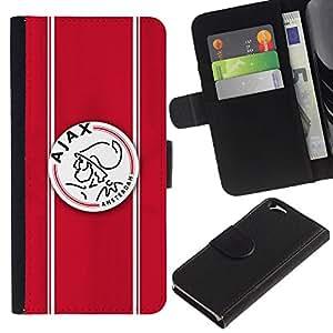 Apple (4.7 inches!!!) iPhone 6 , la tarjeta de Crédito Slots PU Funda de cuero Monedero caso cubierta de piel (Ajax Sports Team 2)