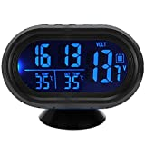 AutoLover® Digital Car Thermometer Auto Voltage Meter Tester Monitor Luminous Clock Freeze Alert 12V 24V