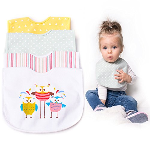 Super Soft Baby Bibs - Triple Layer Waterproof 4-pack Gift Set, Perfect For Feeding, Drooling And Teething - Hypoallergenic 100% Cotton - Stylish And Adorable Designs For Boys & Girls by BIKOBABY (Baby Soft Bib)