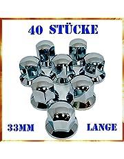 Easy Link 40 x lange 33 mm wieldoppen chroom wielmoerdoppen wielmoerbescherming kunststof SW vrachtwagen aanhanger