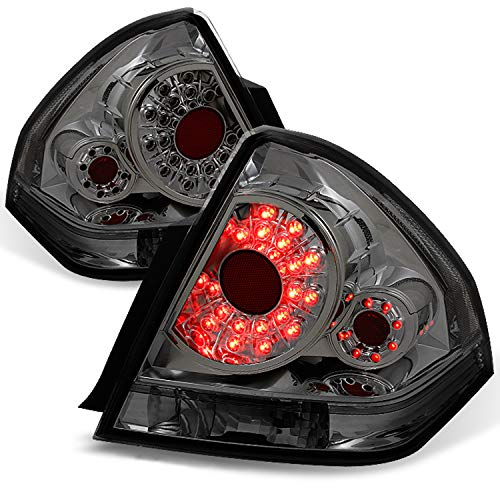 For 2006-2013 Chevy Impala Sedan Smoke Smoked LED Rear Tail Lights Brake Lamps Replacement Left + Right Pair ()