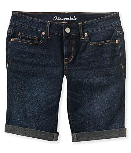 Aeropostale Womens Cuffed Dark Wash Casual Bermuda Shorts, Blue, - Bermuda Aeropostale