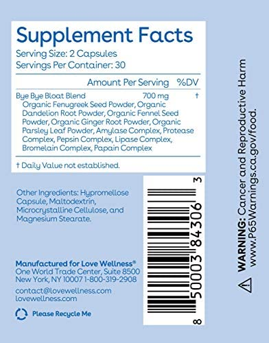 Love Wellness Bye, Bye, Bloat - Digestive Enzymes Supplement - 30 Day Supply - Bloating Relief - Gas Relief - Helps Reduce Water Retention - Helps Your Overall Digestive Health - Safe & Effective 6