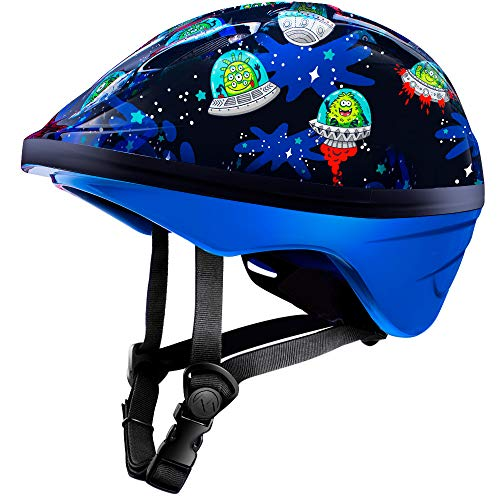 OutdoorMaster Toddler Sport Helmet – Bike Helmet for Children (Age 3-5) with CPSC Certified Safety & Fun Print Design – 14 Vents Ventilation System – Alien