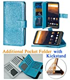 for Samsung Galaxy J7 2017 SKY PRO J7 PERX ( J7 V ) Case Phone Case Hybrid Folder Wallet Extra Pocket Stand Pouch Purse Screen Flip Cover (Blue)
