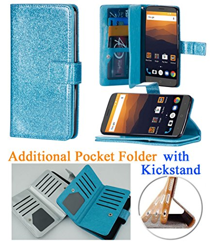 for Samsung Galaxy J7 2017 SKY PRO J7 PERX ( J7 V ) Case Phone Case Hybrid Folder Wallet Extra Pocket Stand Pouch Purse Screen Flip Cover (Blue) by 6goodeals