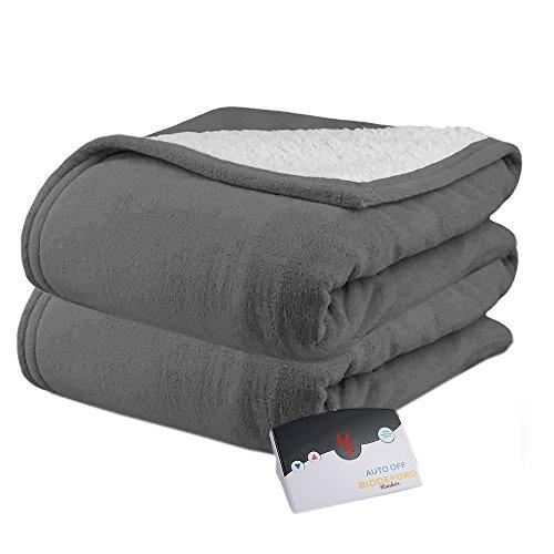Biddeford 2061-9052140-902 MicroPlush Sherpa Electric Heated Blanket Full Grey