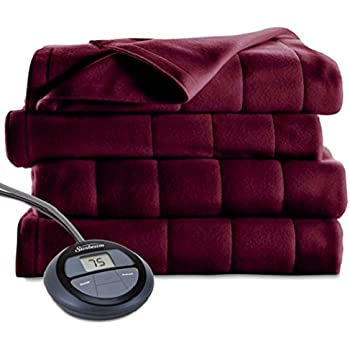 Sunbeam Heated Blanket   Microplush, 10 Heat Settings, Garnet, Full - BSM9KFS-R310-16A00