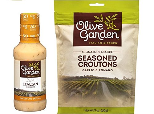 - Olive Garden's Signature Light Italian Salad Dressing and Seasoned Croutons - Bundle