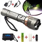 HFA Tactical Police Flashlight LED XM-L T6 8000Lm Zoomable Adjustable Focus 5 Modes Rechargeable Torch Super Bright +18650 Battery & Holder / Car & Direct Charger / Black Case