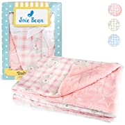 Joie Bean Plush Fleece Baby Blanket for Girls | Soft Double Layer Quilt for Infants, Newborns |100% Breathable Lightweight Polyester, Swaddle Throw, Textured Star Pattern Bear Blanket (Pink)